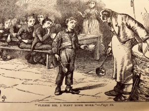 "Engraved Book plate image from ""Oliver Twist"" by Charles Dickens shows Olver holding out his plate in the dining hall. Caption says, ""PLEASE SIR. I WANT SOME MORE. P 18."""