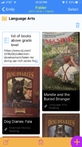 screen shot from Portfolio app by Bluesky Schooler of reading log features children's book titles