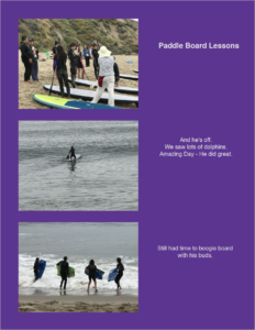 Portfolio Page of Kids Learning to Surf