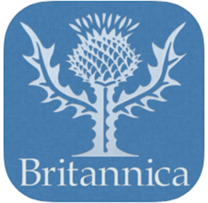 Logo for Encyclopedia Britannica is a Thistle Flower against a blue background