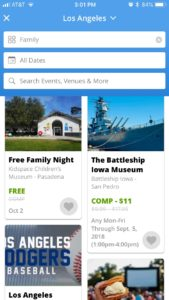 Image of Goldstar Events Search page for Los Angeles for Family events Comp up to $10, results include Free Family Night at Kidspace Museum and the Battleship Iowa Museum