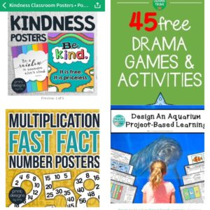 "Four sample products from Teachers Pay Teachers educational resource, including ""Kindness Posters,"" ""Multiplication Fast Fact Posters,"" ""45 Free Drama Games & Activities,"" and ""Design an Aquarium Project Based Learning module"""